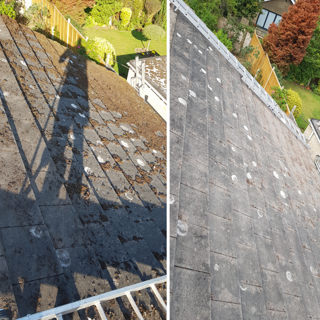 Roof cleaning and demossing today in oak Hall Park Burgess Hill