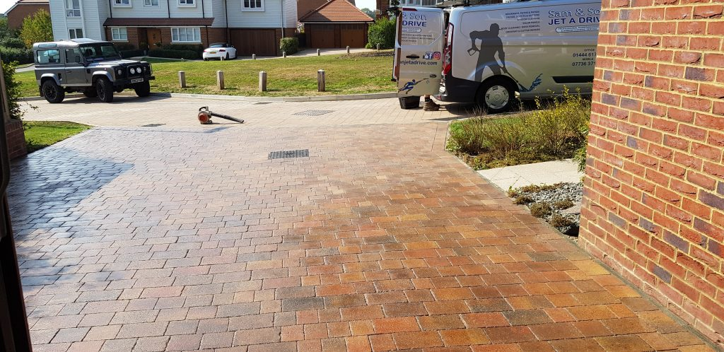 Driveway cleaned treated with weed killer sanded and sealed