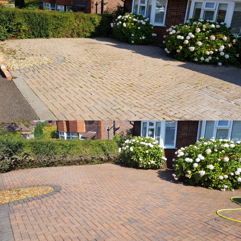 Driveway cleaned and treated to slow them weeds coming back through