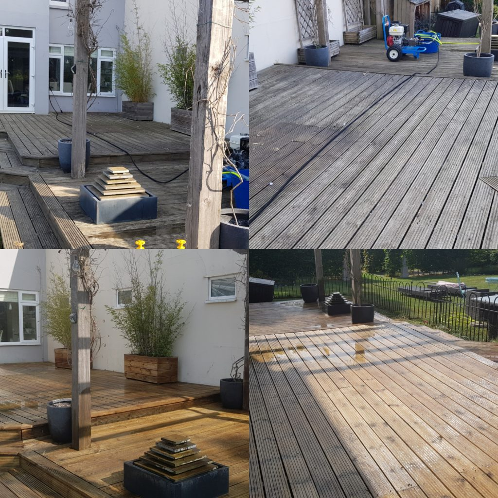 Decking cleaning and oiled days job Burgess Hill Park Road