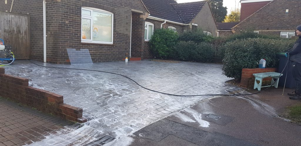 Driveway cleaned and treatment applied  sussex