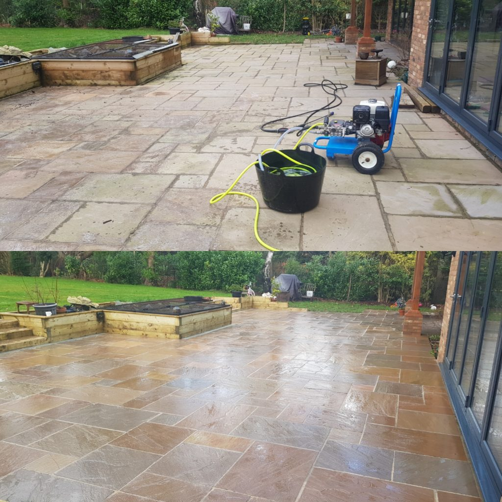 Patio cleaned easy joined with mushroom colour and sealant
