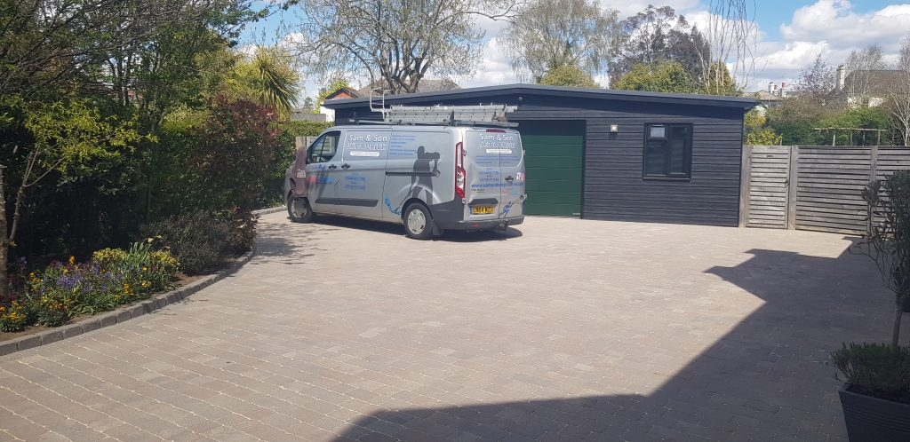 Driveway cleaned and treatment applied