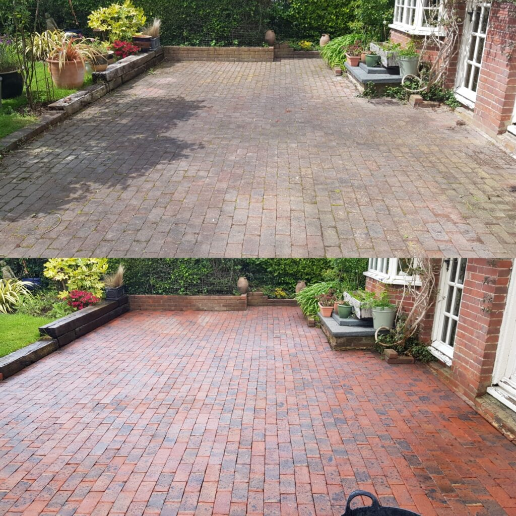 Block paving patio cleaned and treated in Chailey